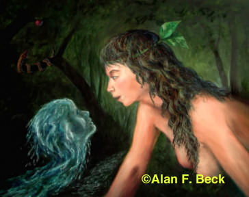 Eve gazes at the Water art by Alan F. Beck